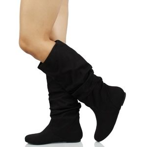 Shoes - Black Faux Suede Slouchy Knee High Flat Boot